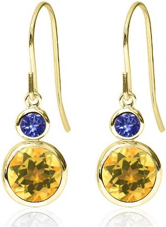1.64 Ct Round Yellow Citrine bluee Tanzanite 14K Yellow gold Earrings