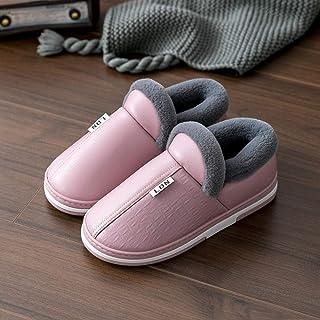 B/H, B/H Pareja Zapatos Slippers,Zapatillas PU de algodón Impermeable y calentito.Zapatilla tacón Bolso Invierno-Violeta_43-44,Invierno Hombre Pantuflas