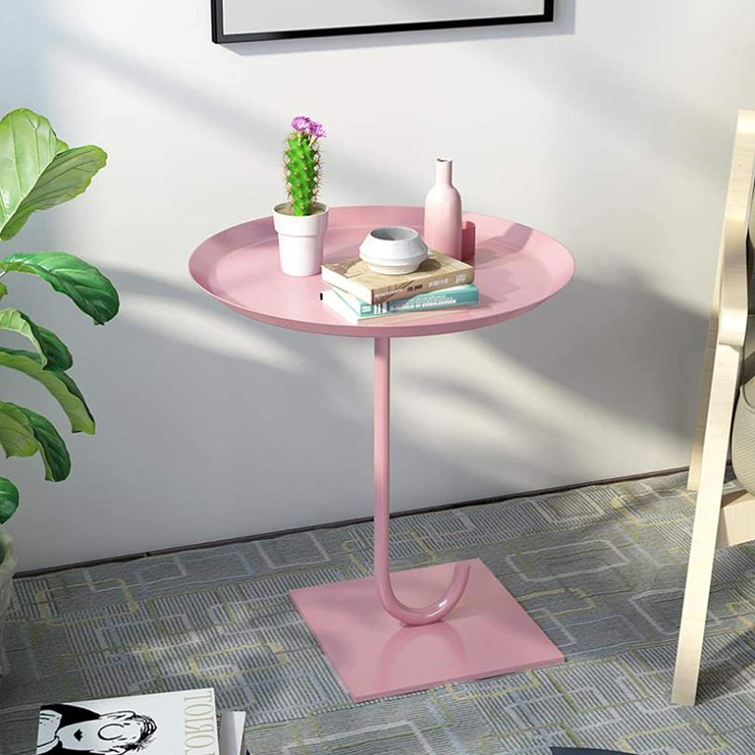 LYN Sofa Side End Table, Wrought Iron Umbrella Casual Negotiation Coffee Table Living Room Sofa Side Round Multi-Function (color   Pink, Size   37cm)