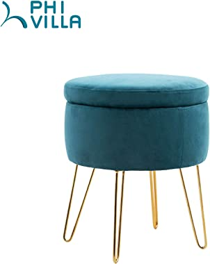 "PHI VILLA Storage Ottoman, 17.7"" H Modern Round Velvet Storage Ottoman Foot Rest Stool/Seat with Gold Metal Legs & Tray Top Coffee Table - Blue"