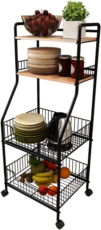 4-Layer Kitchen Shelf Storage Rack Tissue Frame on Casters Black 42  34.5  114cm