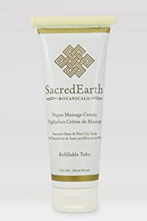 Vegan Massage Cream (8oz Tube) - Unscented, Water Dispersible, Nut Oil Free, Gluten Free and Contains Only Certified Organ...