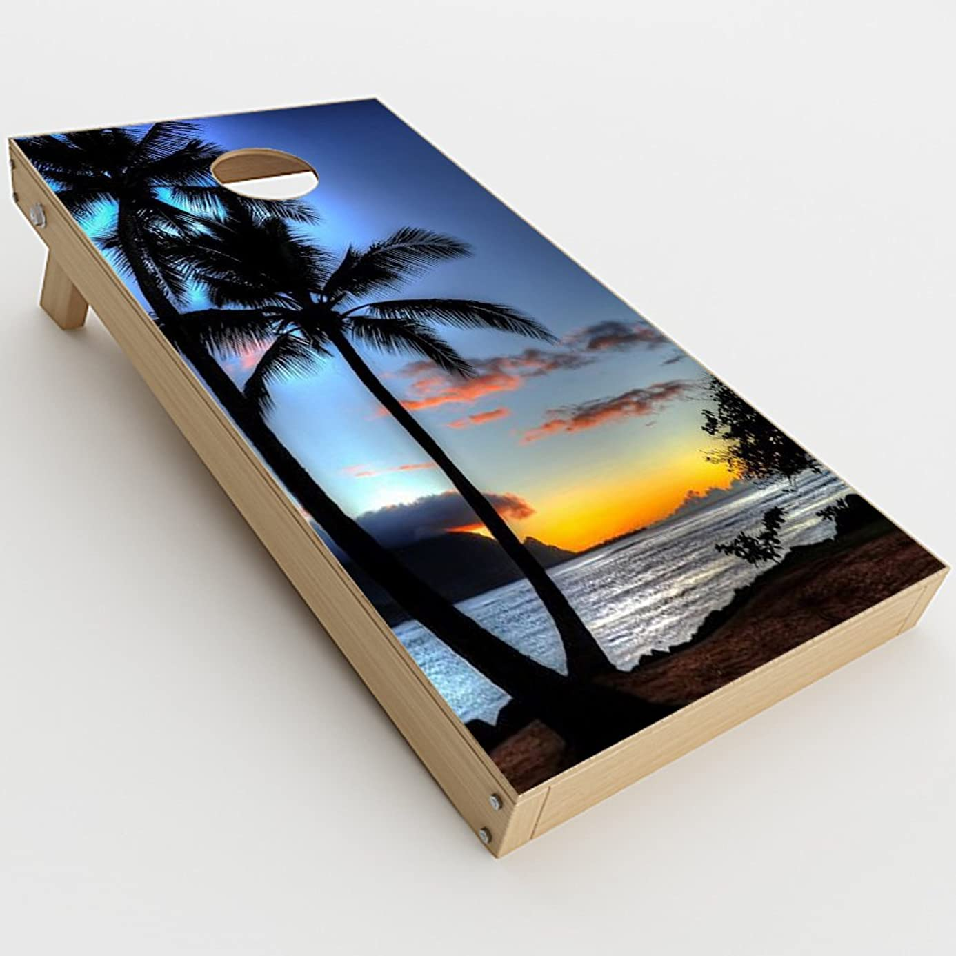 itsaskin Skin Decal Vinyl Wrap for Cornhole Game Board Bag Toss (2xpcs.) Skins Stickers Cover/Paradise Sunset Palm Trees