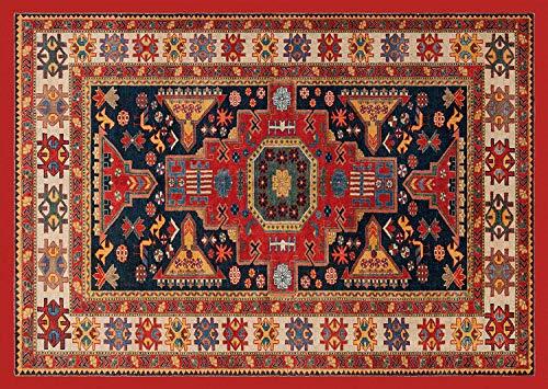 HomeLife Persian Tapijt, Oosters, wasmat voor woonkamer, slaapkamer, woonkamer, met anti-slip vloer, digitale druk, oosterse kleur oranje
