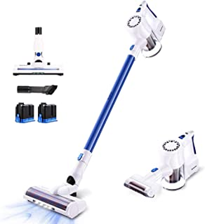 SIMPFREE Pro Cordless Vacuum, 22KPa Strong Suction Lightweight Handheld Stick Vacuum with Brushless Motor Up to 100 Minute Runtime 2 Duo Ion Battery 2 LED Large Brushes Multi-attachments Deep Clean