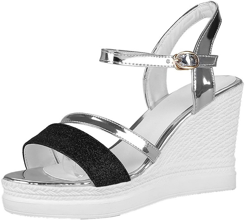 AmoonyFashion Women's Buckle Blend Materials High-Heels Assorted color Sandals, BUTLT005669
