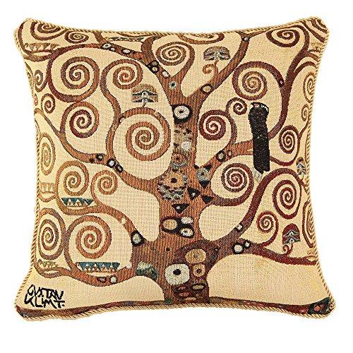 Signare Tapestry Art Cushion Cover Inspired by Gustav Klimt Tree of Life and Kiss (Klimt - Tree of Life, CCOV-ART-KLIMT-2)