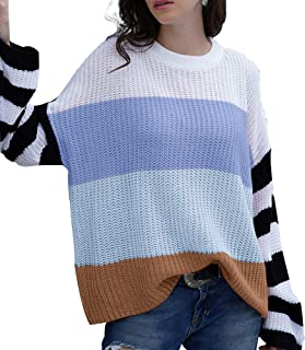 JUPE VENDUE Women Crew Neck Striped Knit Sweater Long Sleeve Color Block Oversize Casual Loose Knitted Pullover Tops