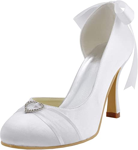 ZHRUI MZ591 Femmes Pompon Satin Satin Mariée Bout Rond (Couleuré   Ivory-9cm Heel, Taille   3 UK)  vendre comme des petits pains