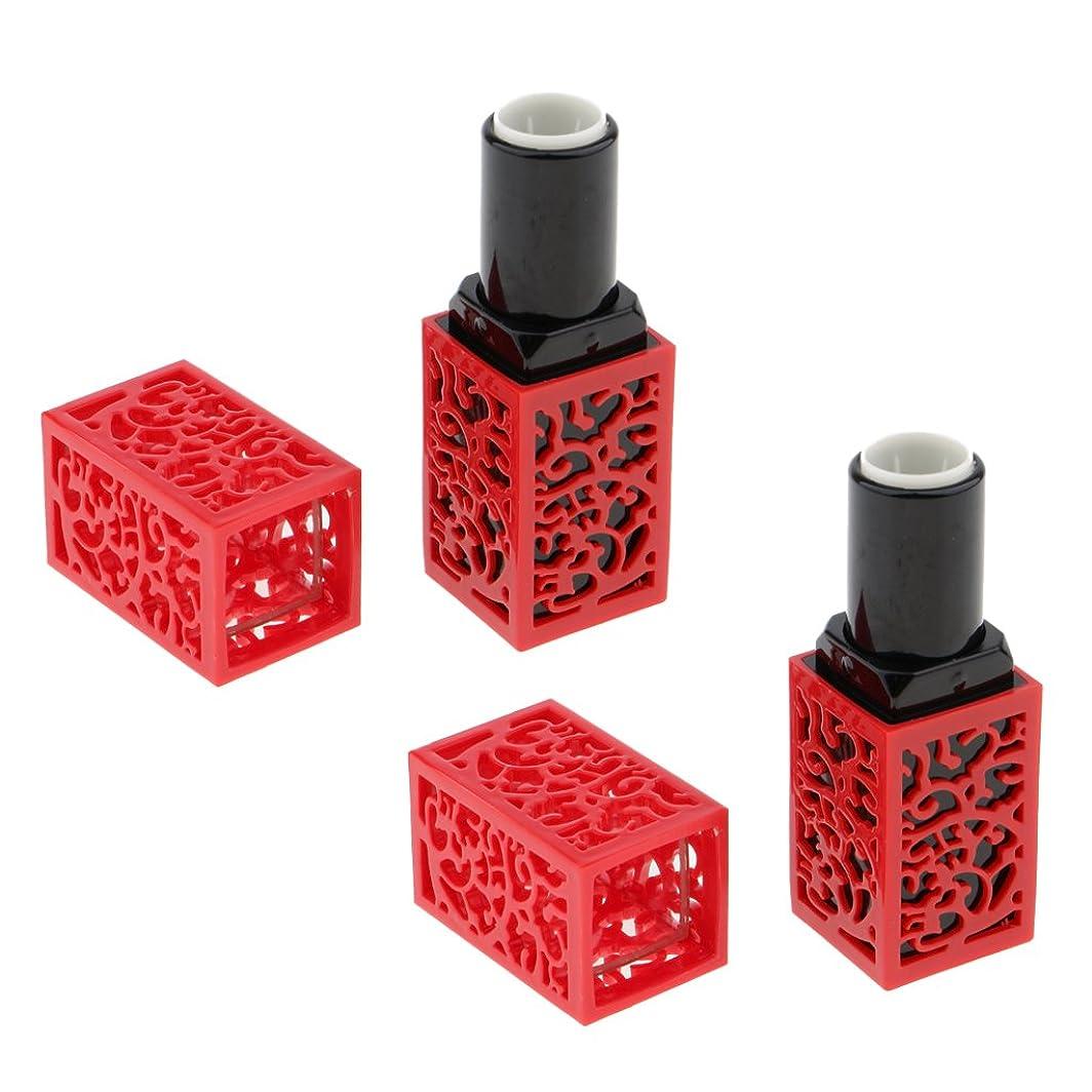 奇跡的なサミュエルどういたしましてSharplace おしゃれ 口紅チューブ リップスティックチューブ 内径1.21cm 金型 手作り 2個 全2色 - 赤