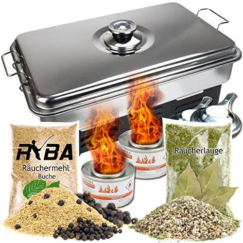 RYBA Set- Edelstahl Tischräucherofen mit Thermometer + Brennpaste, Räuchermehl mit Wacholderbeeren, Räucherlauge