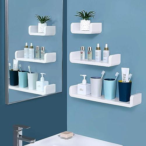 Laigoo Floating Shelf Wall Mounted Non-Drilling, U Adhesive Bathroom Organizer Display Picture Ledge Shelf for Home D...