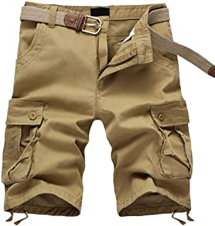 ELETOP Men's Cargo Shorts Relaxed Fit Casual Shorts Outdoor Multi Pocket Basic Shorts Camouflage Solid Color Plaid