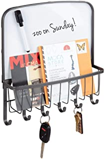 mDesign Metal Wall Mount Entryway, Office Storage Organizer Mail Basket with Dry Erase..