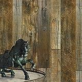 JZ·HOMEYT55 Wood Texture Wallpaper Rolls,Brown/Tan Faux Wood Plank Wallpaper Murals Home Kitchen Bedroom Living Room Decoration 20.8' x 31ft