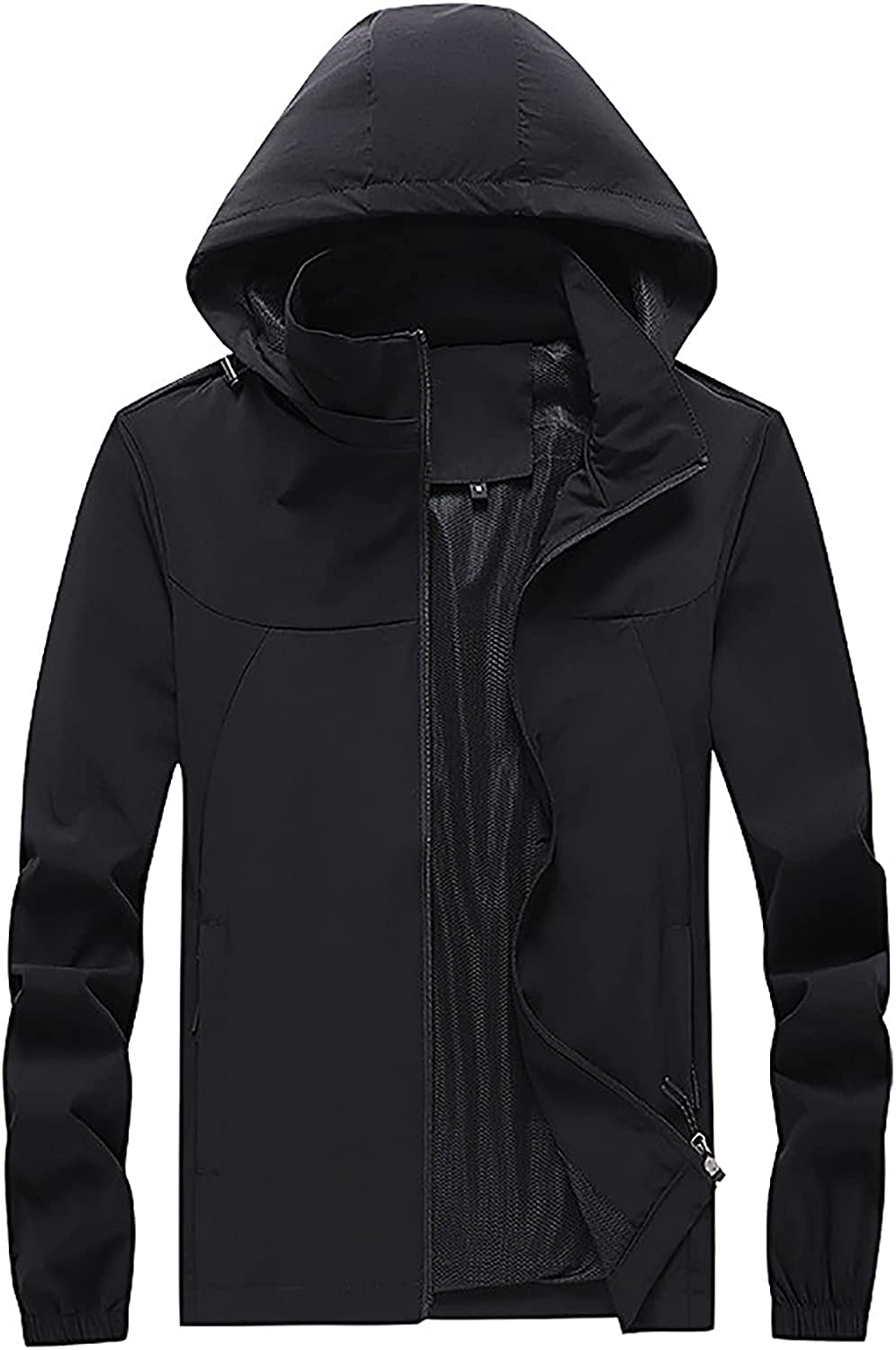 2021 Fashion Hooded Coat for Men's Waterproof Coat Long Sleeve Zipper Solid Color Loose Plus Size Outdoor Jacket Trench