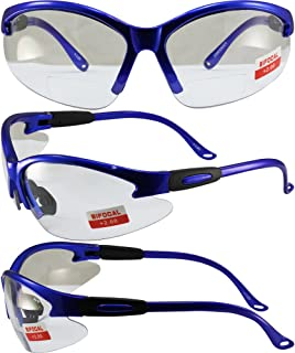 Global Vision Cougar Bifocal Safety Glasses Blue Frame Clear 2.0x Magnification Lens ANSI Z87.1
