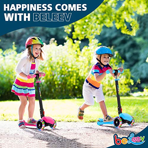 BELEEV-Folding-Scooter-for-Kids-3-Wheel-Kick-Scooter-Perfect-for-Toddler-Girls-Boys-Age-312-Scooter-with-4-Adjustable-Height-LED-Light-Up-Wheels-for-Children