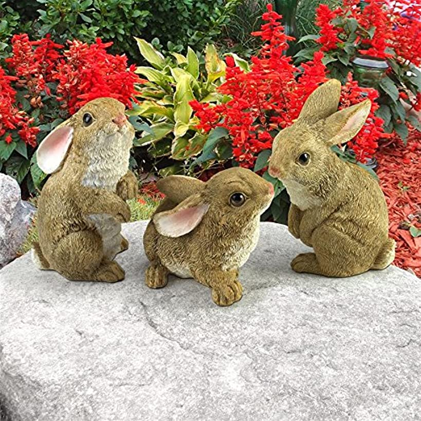 Design Toscano The Bunny Den Rabbits Garden Animal Statues, 5 Inch, Set of Three, Polyresin, Full Color