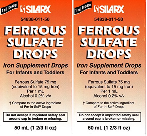 Ferrous Drops Iron Supplement Peppermint Flavor Generic for Enfamil Fer-in-Sol Iron Supplement Drops for Infants, Toddlers & Children Measuring Dropper Included 50 ml per Bottle Pack of 2