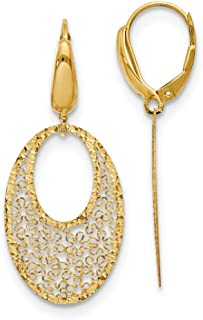 Leslies 10k Yellow Gold w// White Rhodium Dangle Leverback Earrings 30mm x 14mm