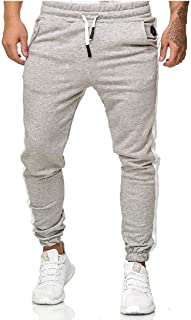 HEFASDM Men's Elastic Waist Long Pants Loose Fit Pure Colour Sweatpants