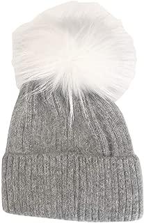 New Grey Hat with White Pom Pom - Genuine Fur…HA62