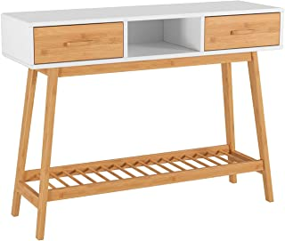 HOMECHO 2 Drawer Console Sofa Hallway Table with Large Storage Display Shelf and Bamboo Legs for Living Room,Dining Room and Entryway,White Color,HMC-MD-032