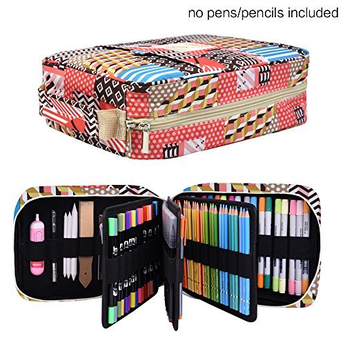 Pencil Case Holder Slot - Holds 202 Colored Pencils or 136 Gel Pens with Zipper Closure - Large Capacity Pen Organizer for Watercolor Pens & Markers   Perfect Gift for Artist Stripe