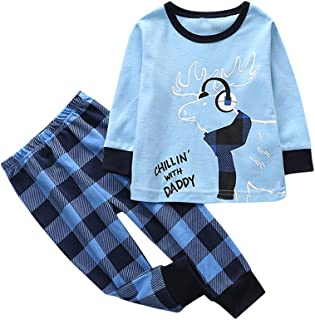 kingfansion Women Toddler Kids Baby Girl Boy Cartoon Family Pajamas Set Christmas Deer Outfits