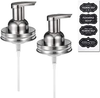 Mason Jar Foaming Soap Pump Dispenser Lids(2)-Rustproof Stainless Steel Lid / BPA Free Pump for Pint Regular Mouth Mason Jar,With Waterproof Stickers! -Kitchen Bathroom Farmhouse Decor/Brushed Nickel
