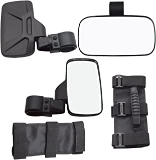 XJMOTO UTV Offroad Centre View & Side View Mirror for 1.5``-2`` Roll Cage Bar w/Pair Grab Handle Set Adjustable for Polaris RZR Ranger Arctic Cat Yamaha Kawasaki Honda Can-Am