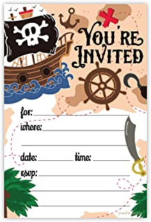 Pirate Birthday Party Invitations (20 Count) With Envelopes