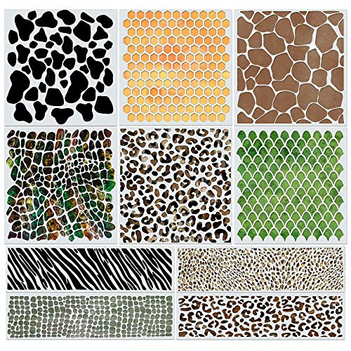 Animal Print Stencils for Painting, Wall Art, Drawing, Cakes & Crafts - Reusable Safari Airbrush Stencils - Stencil Set Includes Snakeskin, Leopard, Cheetah Spots, Fish Scales and a Honeycomb Stencil