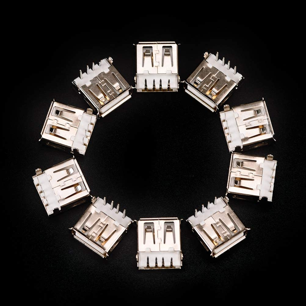 Cable Length: Other Occus Arrival 10Pcs USB Female Type A 4-Pin DIP Right Angle Plug Jack Socket Connector Factory Price