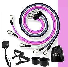 Expander, fitnessbanden, weerstandsbanden-set, fitnessband, 11-delige oefenbandenset, roze