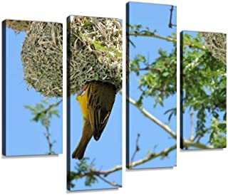 Canvas Wall Art Painting Pictures Bird Sparrow nest Tree Thorns Green Branches Nesting Nature Animal Modern Artwork Framed Posters for Living Room Ready to Hang Home Decor 4PANEL