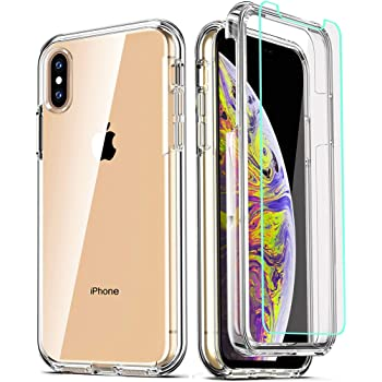 COOLQO Compatible for iPhone Xs Max Case 6.5 Inch, with [2 x Tempered Glass Screen Protector] Clear 360 Full Body Coverage Silicone [Military Protective] Shockproof for iPhone Xs Max Cases Phone Cover
