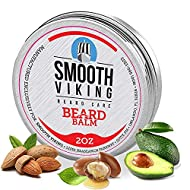 Beard Balm for Men   Smooth Viking Beard Balm with Essential Oil & Beeswax (2 Oz) - Strong Hold Beard Styling Balm, Natural Leave-In Beard Conditioner for Men to Boost Healthy Beard & Mustache Growth