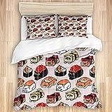 DAOPUDA Funda de edredón,Sushi Persian Cat, Juego de Cama Suave de Lujo de 3 Piezas, tamaño Gemelo