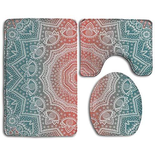 GABRI Set di tappeti da Bagno 3 Pezzi Mandala Tribale Ombre Art Old Etnic tappetini da Bagno 3 Pezzi Set di tappetini per WC a Forma di U + Coperchio del Coperchio + Tappeti da Bagno