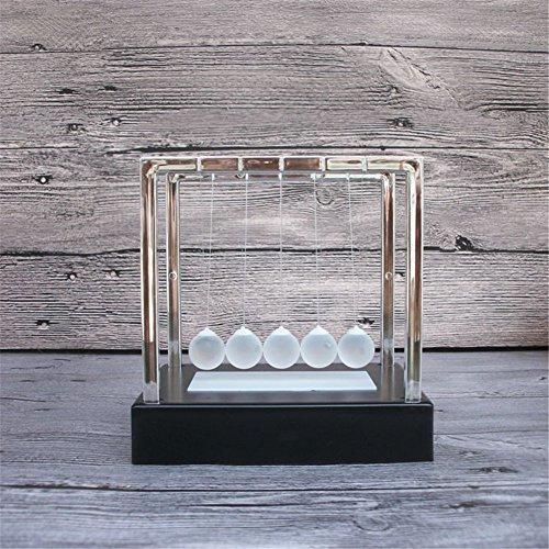 PROW® Tamaño Medio Colorido Brillante Fregar Bola de Cristal Creativo Cuna de Newton Negro Base Equilibrio La Pelota Simulación Movimiento Permanente Físico Mecánica Juguetes científicos