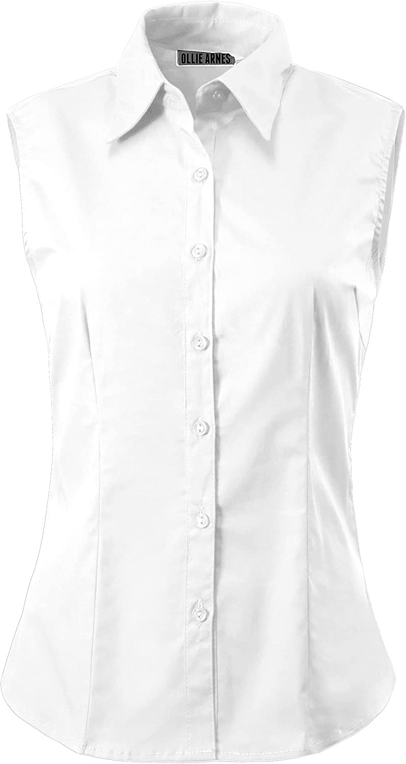 Womens Stretchy Fitted Sleeveless Office Business Button Down Collar Blouse Top