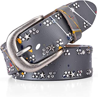 YAMEZI Women's Retro PU And Cow Composite Rhinestone Studded Rivets Western Belt