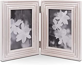 Double Folding 4x6-inch White Photo Picture Frame, Wide Molding, Hinged Frames with Glass Front, American Class Style Antiquated, Stands Vertically on Desktop or Table Top(Window 3.5 x 5.5 Pictures)