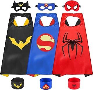 Sinoeem Costumi da Supereroi per Bambini-3 Mantelli e 3 Maschere- Regali di Compleanno - Costumi Carnevale Mantelli e Masc...