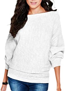 Women Boat Neck Knit Jumper Loose Fit Lightweight Pullover Sweater