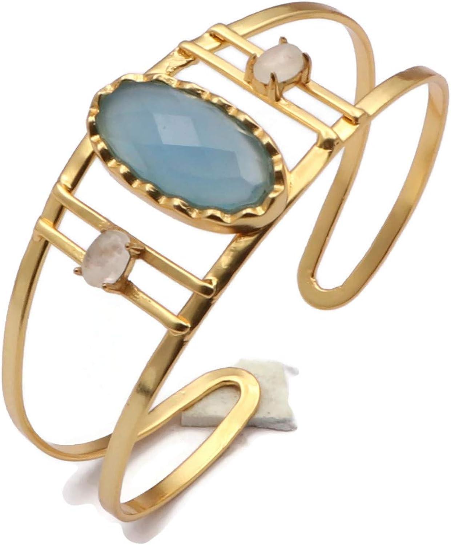 El Joyero Handmade Gemstone Blue Chalcedony & Moonstone Designer Adjustable Bangle Gold Plated Bangle Fashion Bracelets Jewelry EJ-1067