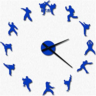 #Clocks Wall Clock 3D Sticker DIY Kit Acrylic Frameless Design Silent Battery Operated Non Ticking Taekwondo Martial Arts Hall Living Room Large Decorative Silent Wall Clock (Color : Blue)