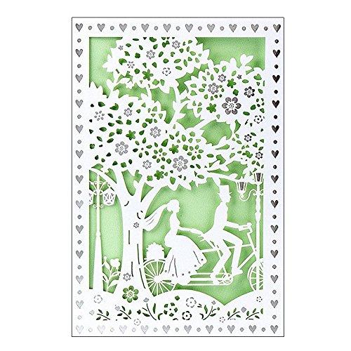 Hochzeitskarte | 12 cm x 18 cm | Mit farbigem Einleger & Umschlag | Grußkarte für Hochzeit | Glückwunsch-Karte | Motiv: Brautpaar, Vermählung, Paar auf Fahrrad (Design 3)